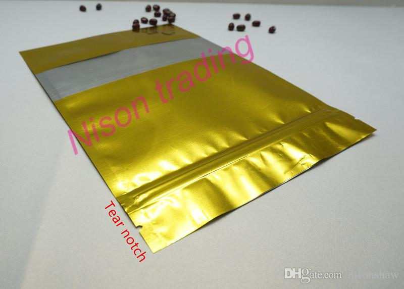 14 * 20 cm, 100 adet / grup X reopenable aluminize mylar sığır sarsıntılı saklama çuval, altın Stand up alüminyum folyo kilitli çanta açık pencere ile