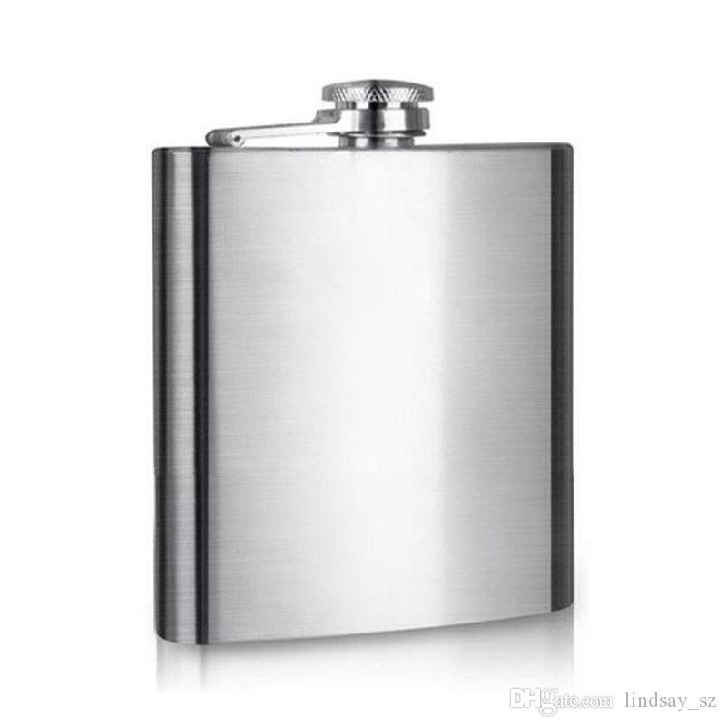 Her perakende siyah kutu ile 100% paslanmaz çelik 6 ons paslanmaz çelik cep şişesi, Hiçbir plastik kapak, Lazer kaynak