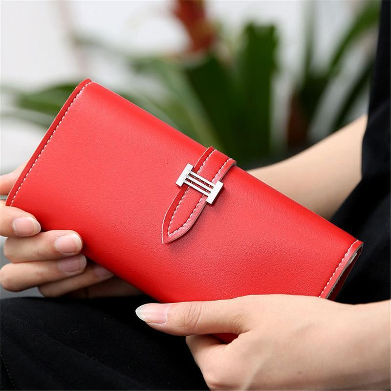 Simple Fashion Women Long Wallet Leather Solid Color Bags Zipped Coin Purse Ladies Sweet Girls Clutch Bag Card Holder New Sale Price Wallets Luggage & Bags