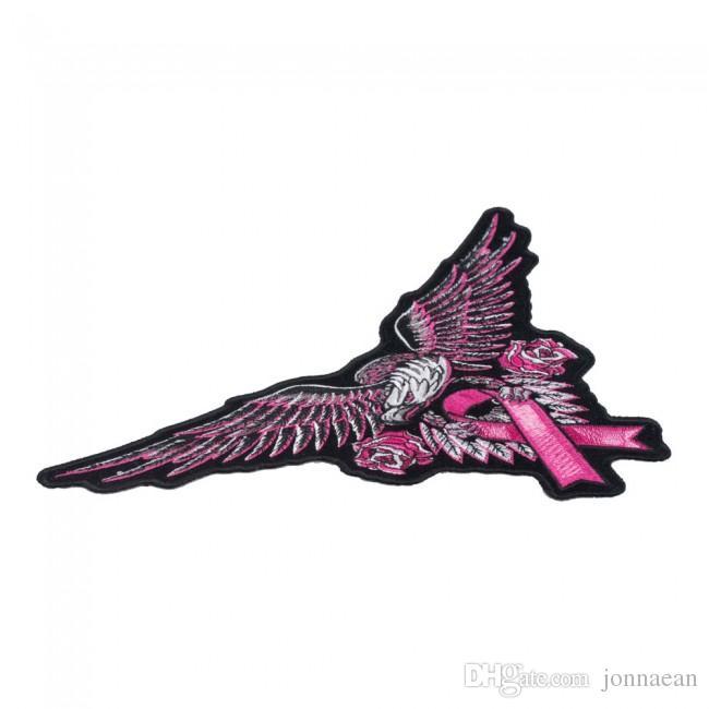Großer rosa Adler-Brustkrebs-Band-Flecken, Bewusstsein gesticktes Eisen an oder nähen auf Flecken 10.5 * 6.5 ZOLL Freies Verschiffen