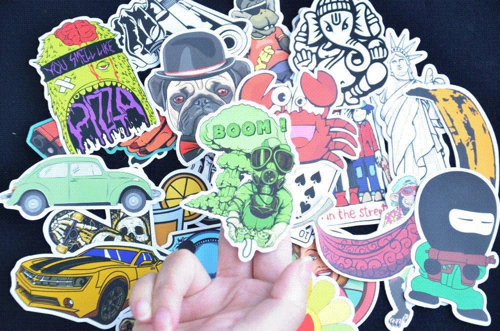 Klassische Spielzeug Das Beste 100 Pcs Cartoon Graffiti Stil Aufkleber Für Auto Fahrrad Motorrad Telefon Laptop Reise Gepäck Coole Lustige Aufkleber Bombe Jdm Decals