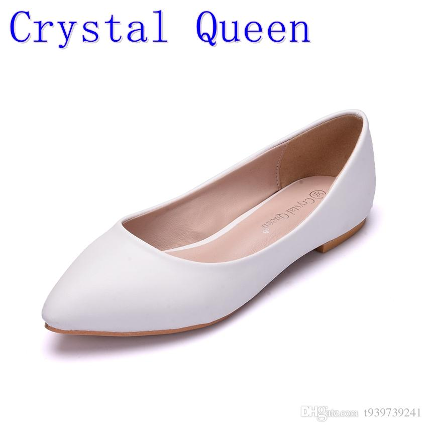 Crystal Quee Femmes Chaussures Chaussures de mariage plates Plateforme Talons Chaussures Femmes Blanches Pointe Boutée Fille