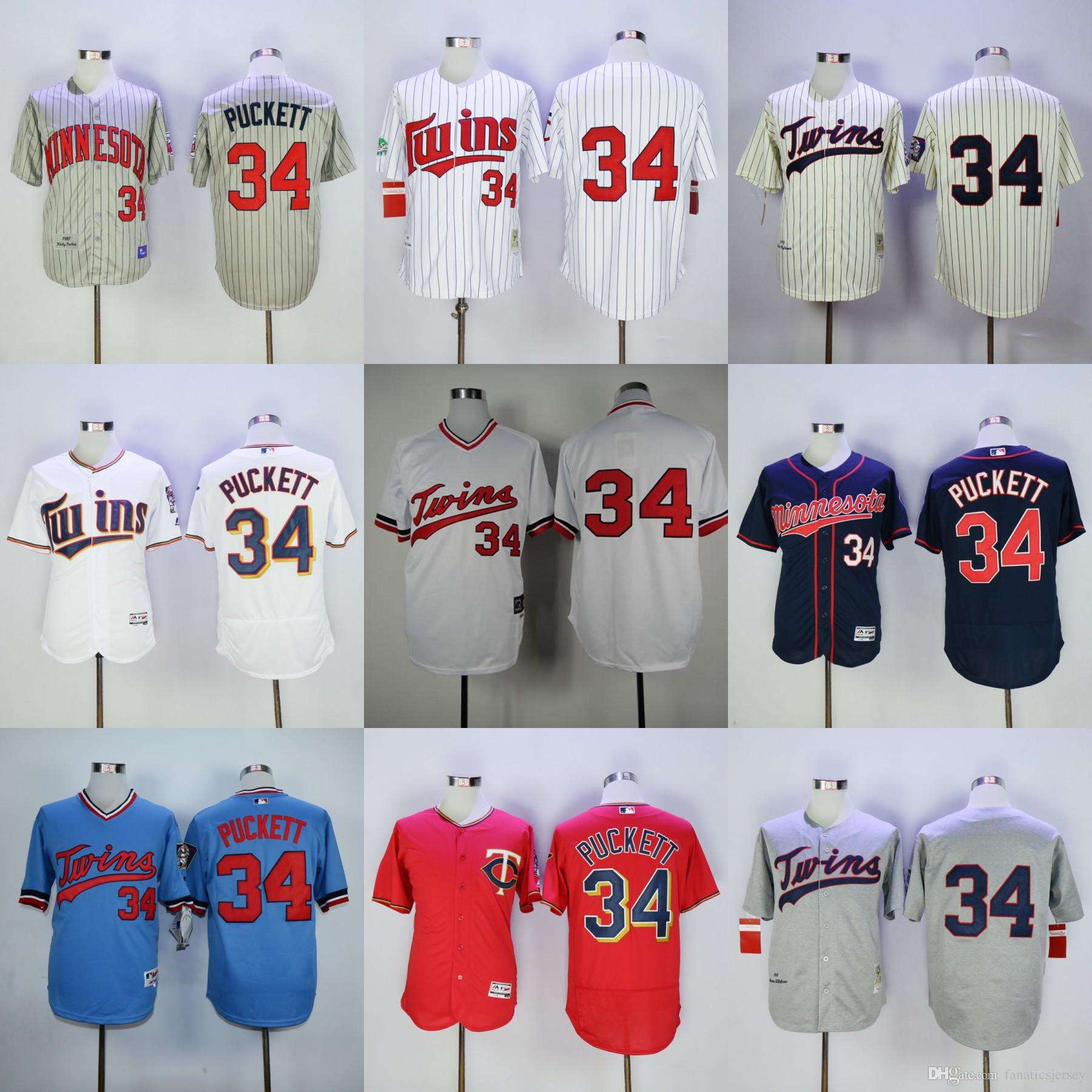 ddfb06ce189 ... clearance 2017 mens minnesota twins baseball jersey 34 kirby puckett  red white navy blue grey throwback