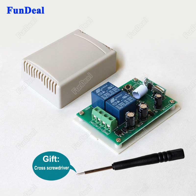 Wholesale- 433Mhz Universal Wireless Remote Control Switch DC 12V 10A 2CH  Relay Receiver Module For DC Motor Forward and Reverse Controller