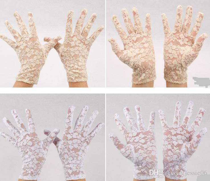 Bridal Evening Wedding Party Sheer Lace Gloves Driving Costume mittens Evening fancy dress Prom Christmas Favor white Ivory black red