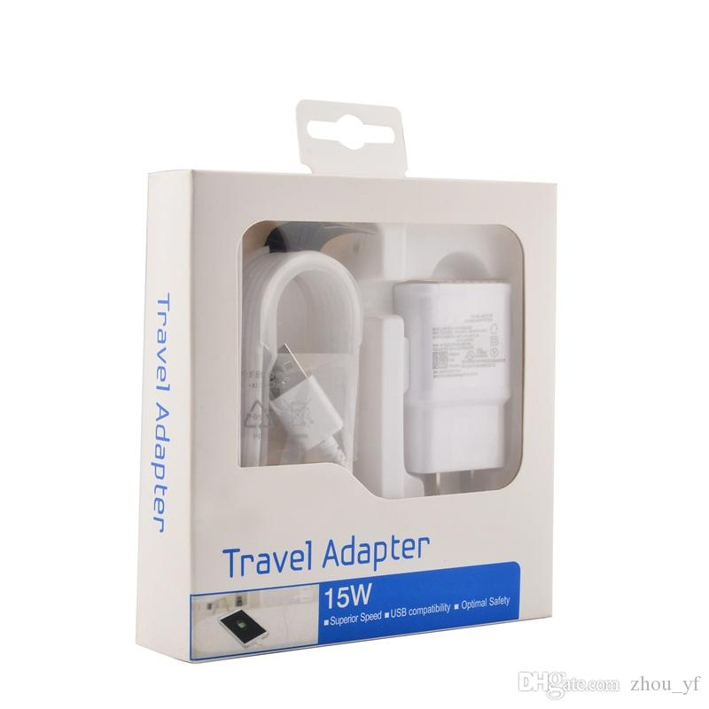 OEM Original 2in1 15W adaptive 100% Fast Charging US/EU Travel Wall Charger + 1.5M Micro Usb Cable For Samsung S6 S7 Edge Note 4 5 With box
