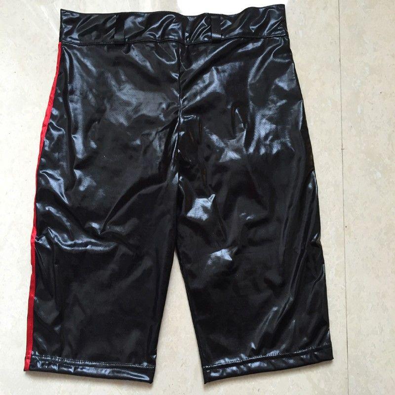 Mode Sexy Hommes Shorts Noir Short Maigre Rouge Fermeture Éclair Avant Vêtements D'été Pour Hommes Bar Party Night Club Wear Taille XXL