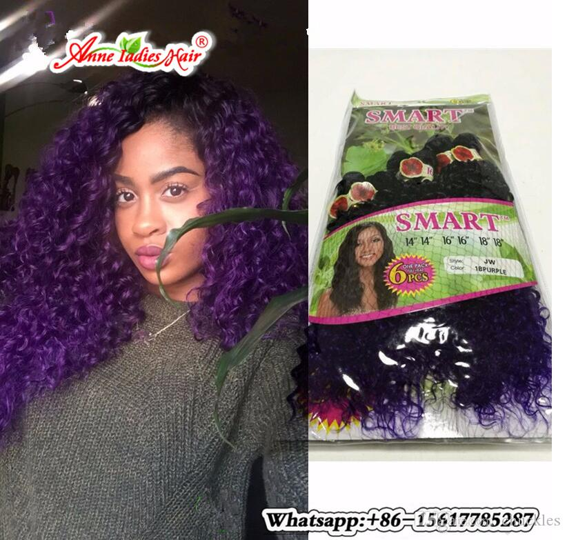 Synthetic Purple Hair Extension Ombre Two Tone Dark Purple Wefts