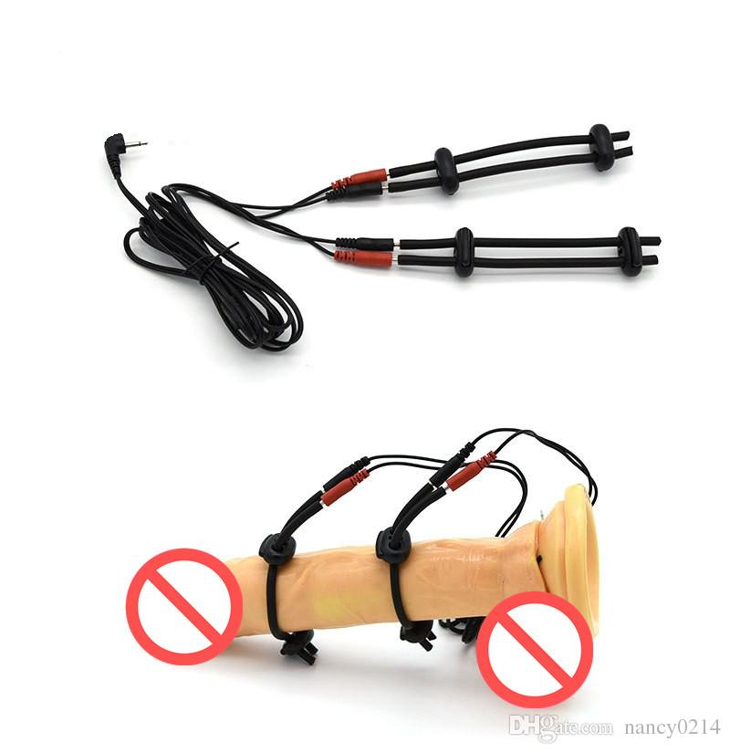 SM Player Electric Shock Red Nipple Clamps&2 Black Penis Rings for Men Medical Themed Toy Sex Product I9-1-88