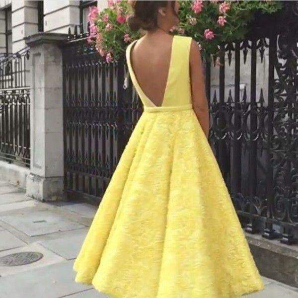 Fabulous Wedding Guest Kleid Hellgelb Sexy Zustell-Partei-Kleider eine Linie Sleeveless Spitze Tee Lengt Backless formale Kleider