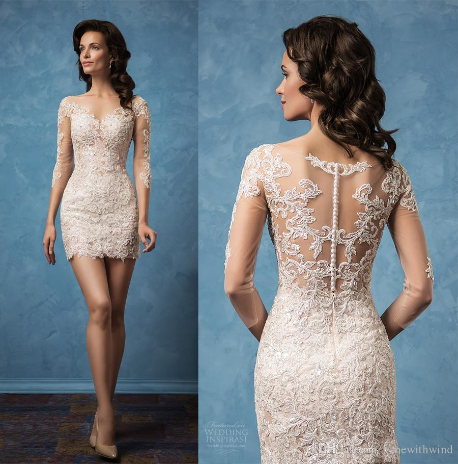 Short Wedding Dresses 2017 Amelia Sposa Bridal Mini Skirt Three Quarter Sleeves Semi Sweetheart