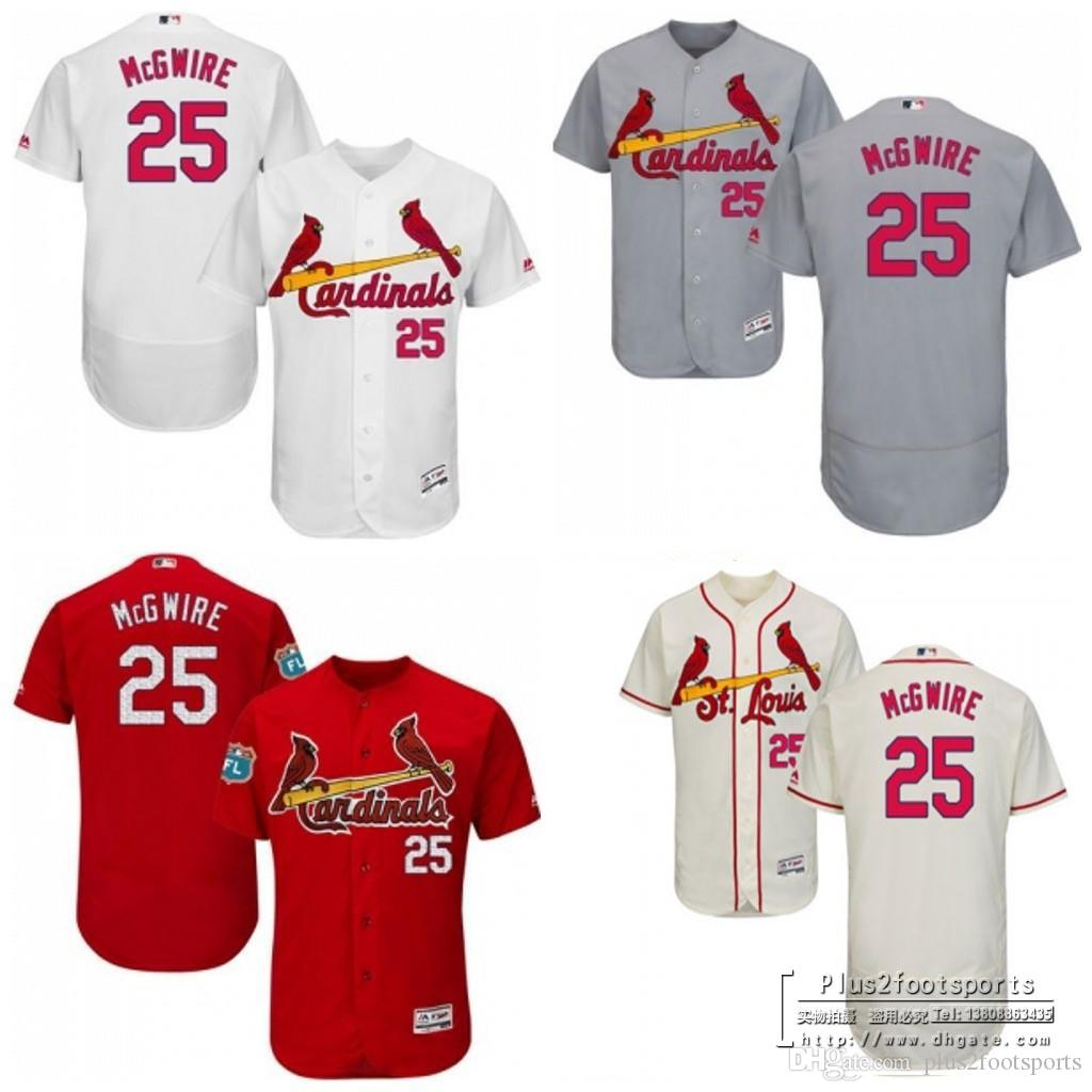 best website bec8f c9c9c st.louis cardinals 25 mark mcgwire cream new cool base ...