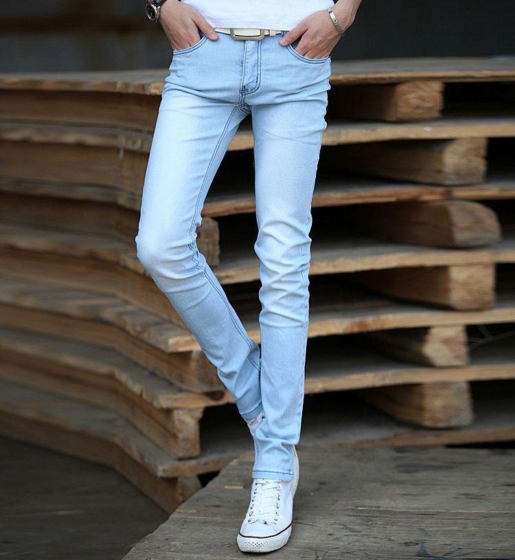 f64868238b Compre Al Por Mayor Nuevo 2016 Mens Pantalones Vaqueros Azules Claros Pantalones  Vaqueros Del Dril De Algodón Recto De Los Hombres De Moda Diseño De La ...