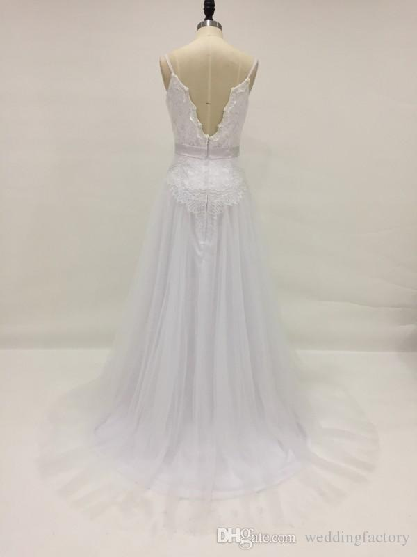 Real Picture Beach Wedding Dress A Line Spaghetti Straps Exquisite Pearls Lace Tulle Country Wedding Dresses Backless Bridal Gowns Sash