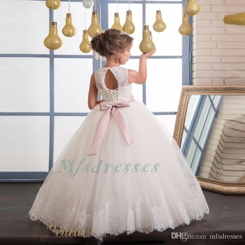 Hot New Ivory White Lace Flower Girls Dresses 2017 Ball Gown Rose Pink Belt Floor Length Girls First Communion Dress Princess Dress