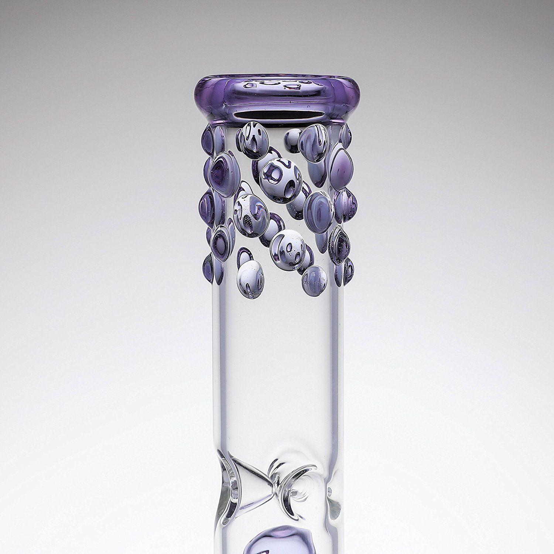 Новейшие Стеклянные Водопроводные Трубы Стеклянные Курительные Рук Ручной Работы Высокие 38 см Фиолетовые Бонги С 14.5 мм Совместный Размер