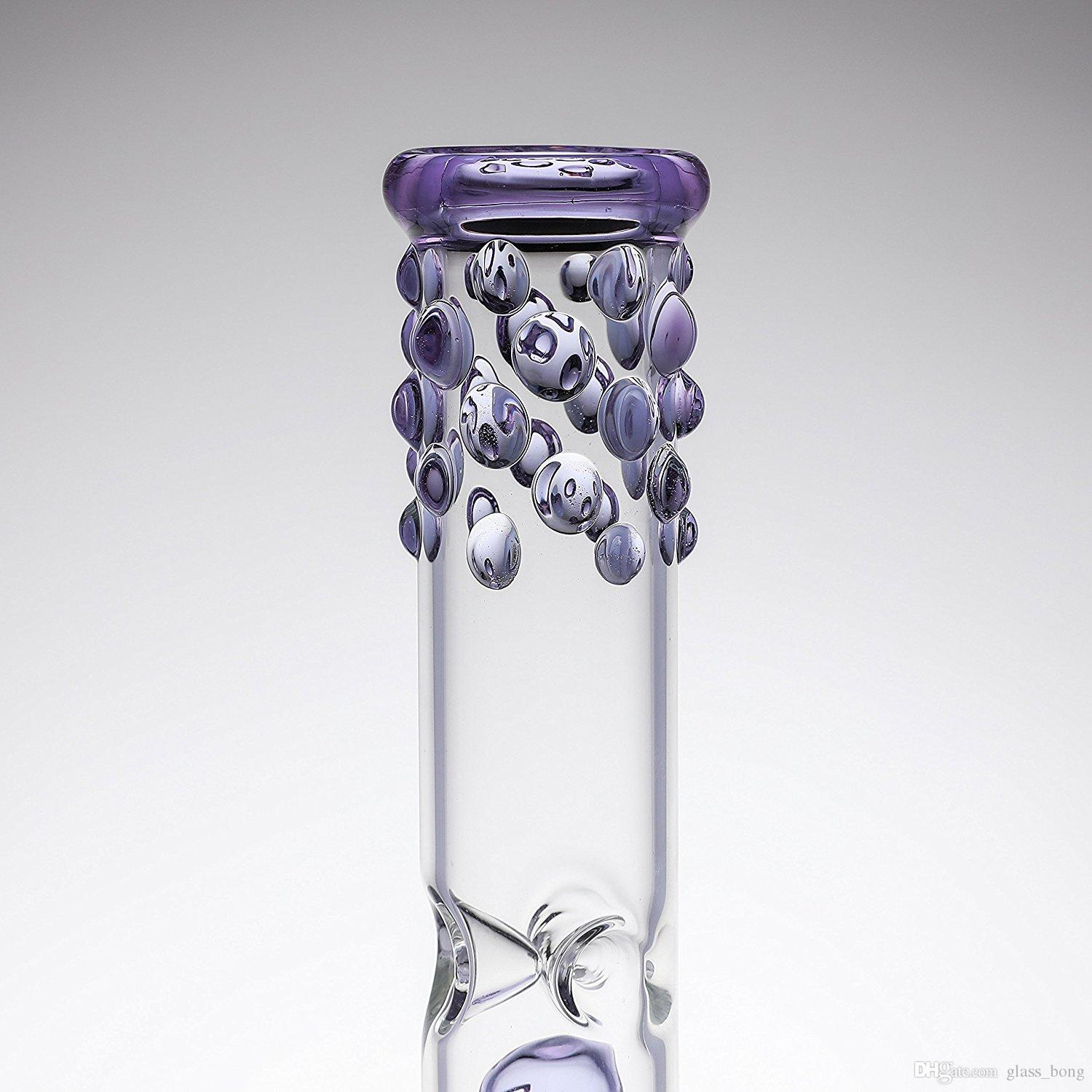 Newest Glass Water Pipes Handmade Glass Smoking Oil Rigs Tall 38cm Purple Bongs With 14.5mm Joint Size