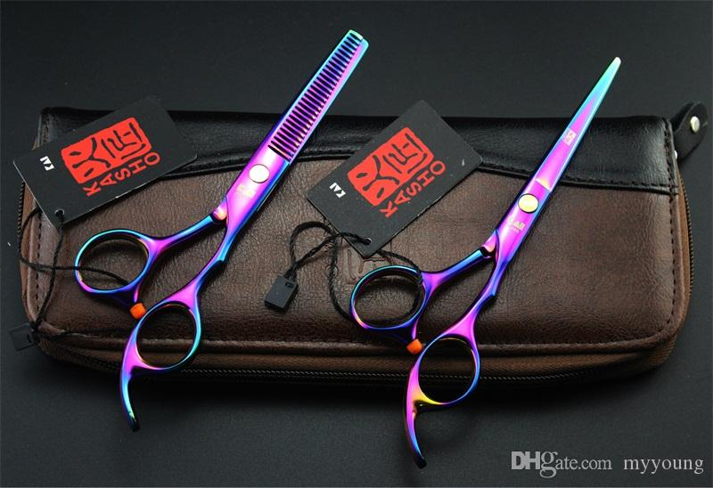 6 Inch Hairdressing Kasho Scissors Japan Stainless Steel Professional Hair Cutting Thinning Shears Plated High Quality.