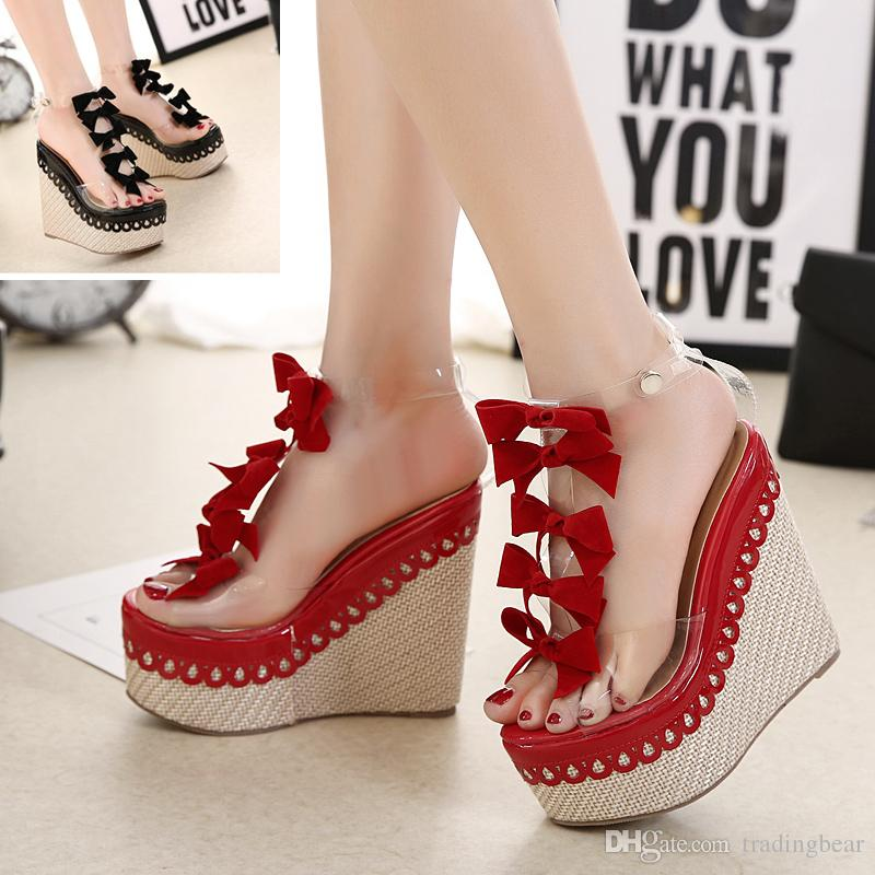 b3d7ea2b8a19 2017 Sweet Red Black Small Bowtie PVC Transparent Straw Woven Platform  Wedge High Heel Sandals Size 34 To 40 High Heel Shoes Wholesale Shoes From  ...