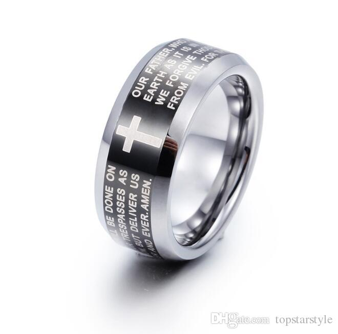 Couples black and silver tungsten prayer ring Classical Jewelry Finger ring for men and women black plated and cross prayer words engraved
