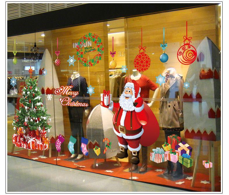 Merry Christmas Santa Claus Tree Window Glass Sticker