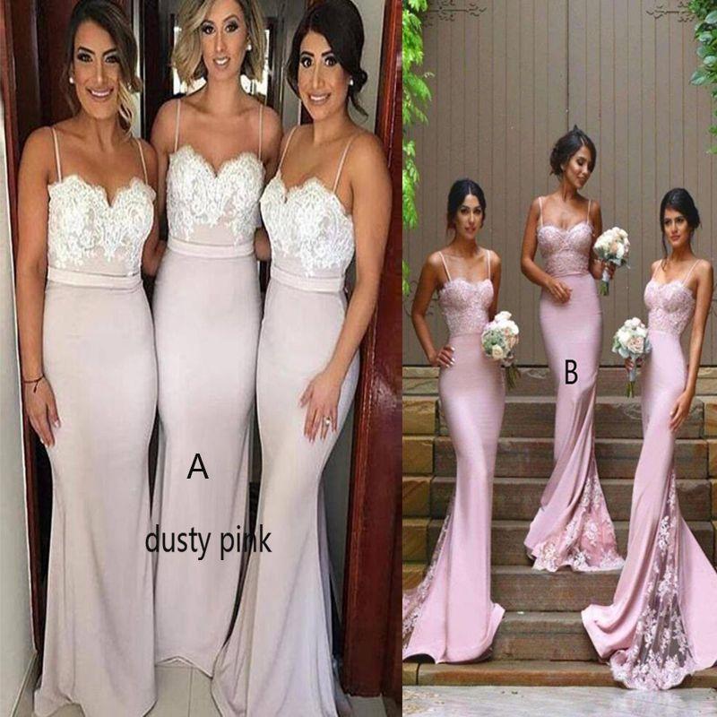 2017 Pas Cher Nouveau Designer Dusty Rose Colonne Sexy Robes De Demoiselle D'honneur Bretelles Spaghetti Sweetheart Dentelle Applique Dos Nu Maid De La Robe d'Honneur