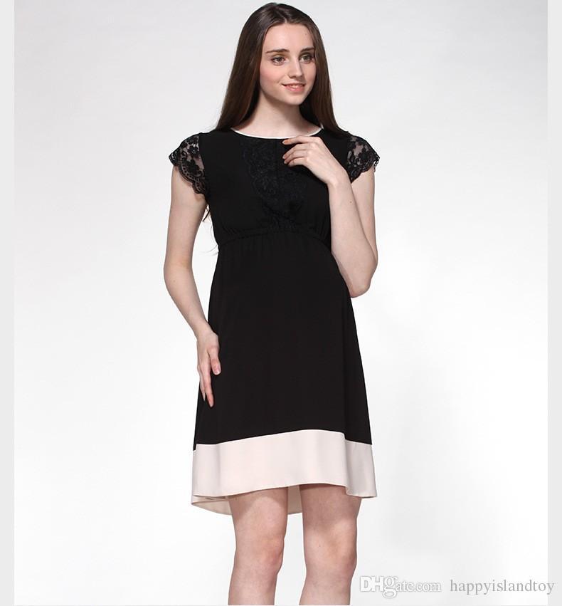 2018 Fashion Brand Maternity Clothing Hollow Lace Maternity Dress