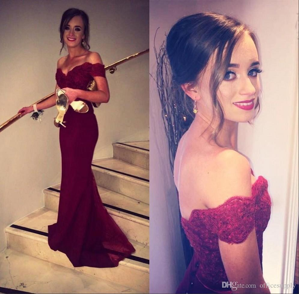 fccd55660737 Off The Shoulder Mermaid Prom Dresses 2017 Fiesta Burgundy Lace Bodice Cap  Sleeves Backless Custom Made Evening Dresses Formal Gowns Prom Dreses Prom  Dress ...