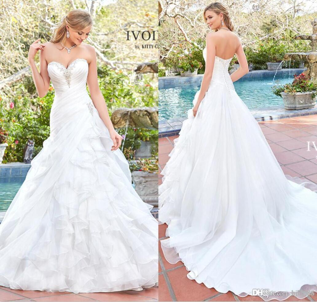 Organza Wedding Gowns: Discount Kitty Chen 2017 New Arrival A Line Organza