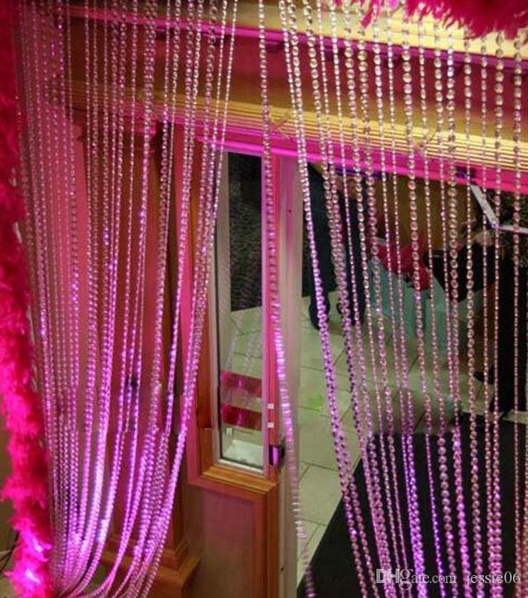 Grânulos de Cristal acrílico Cadeia Pendurado Frisada Cortina Garland Flores Lustre Decor Festa de Aniversário de Casamento decorações XMAS fontes Festivas