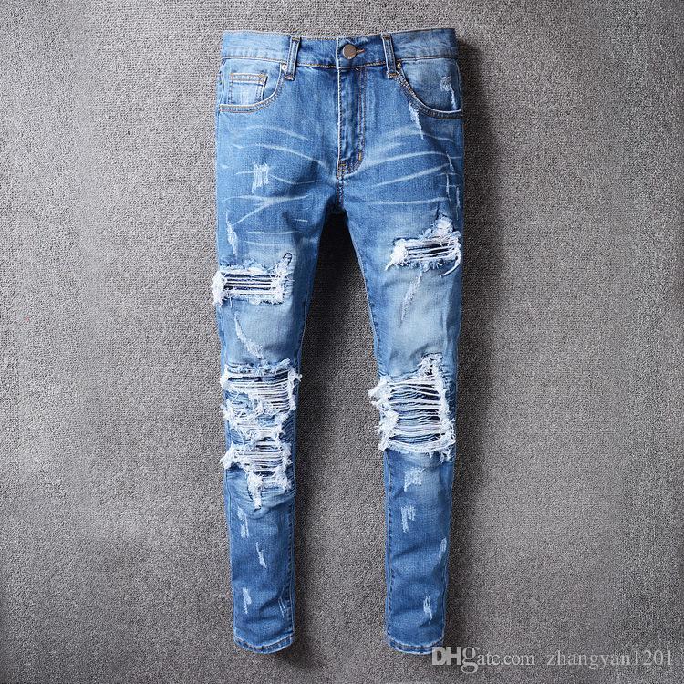 ea154fb34756 2018 Skinny jeans for Men Ripped Holes Jeans Motorcycle Biker Denim Pants  Men Brand Fashion Hip Hop Mens Jeans Men Jeans Jeans for Men Biker Jeans  Slim ...