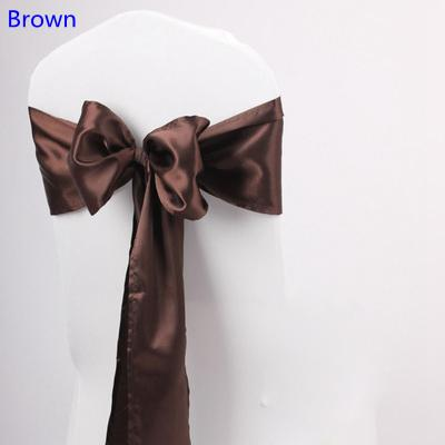 Brown colour satin sash chair high quality bow tie for chair covers sash party wedding hotel banquet home decoration wholesale