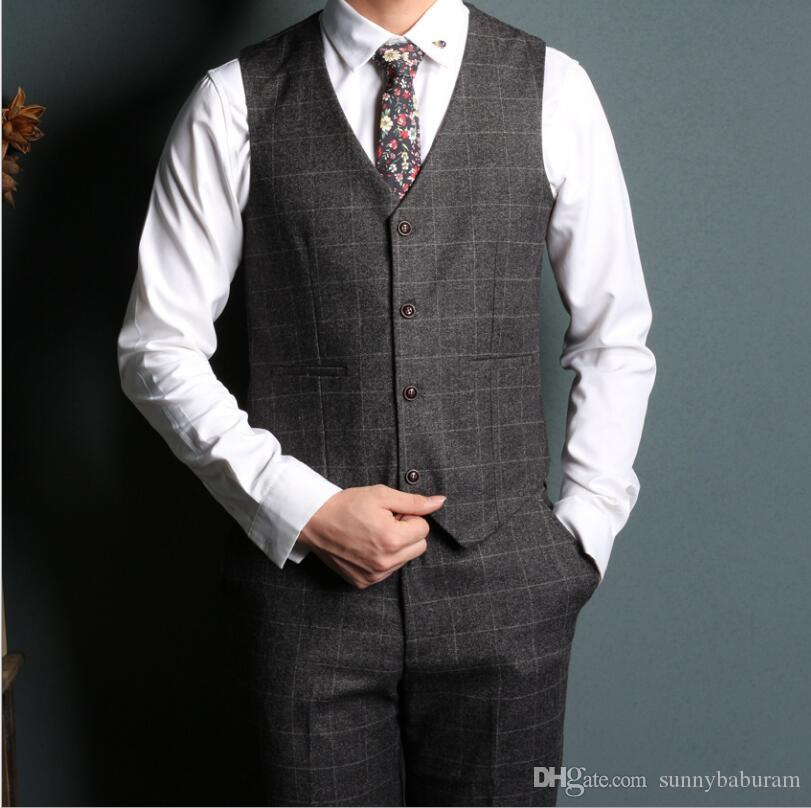 Gray Men's Plaid Three piece suit for best man Suit vest and pants Men's suit fashion Formal wedding Prom Tuxedos Wholesale 009