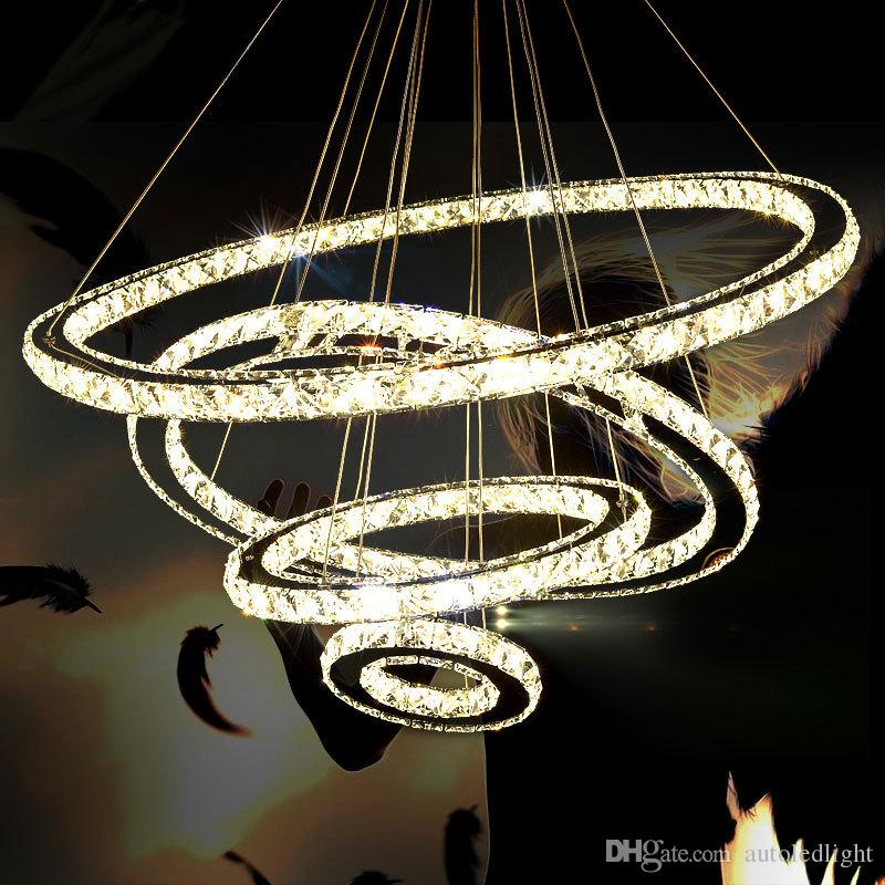 Modern Chandeliers Crystal Diamond Ring LED Crystal Chandelier Light Modern Crystal Pendant Lamp 3 Circles different size position