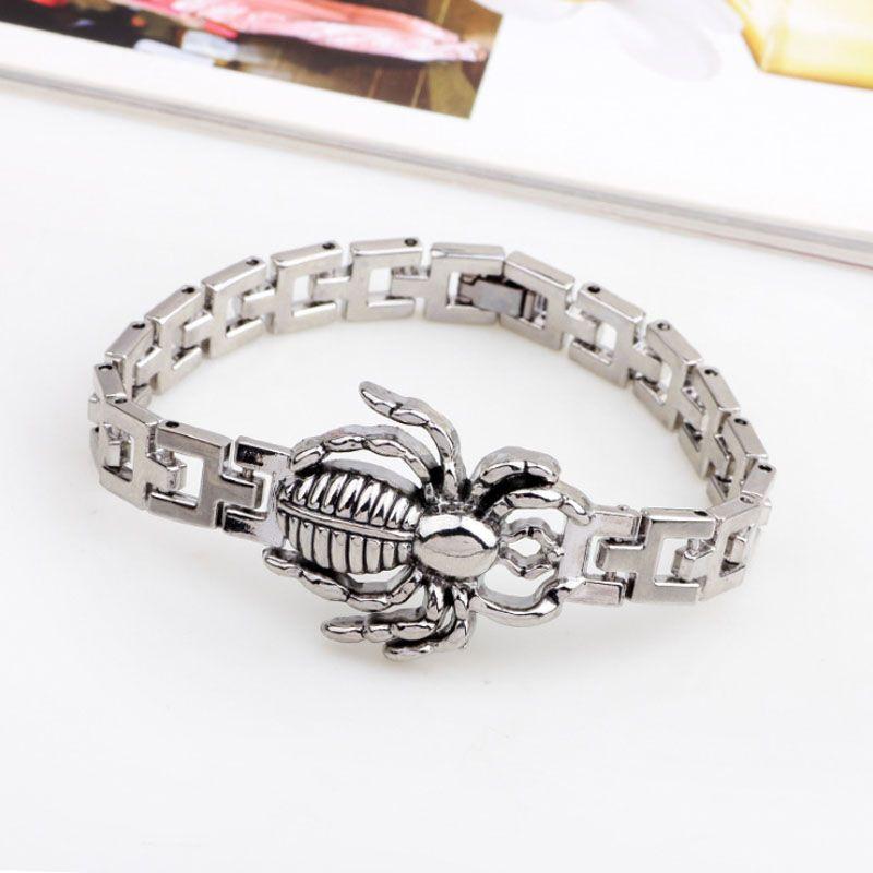 New Fashion Mens Jewelry Titanium Steel Oil Drip Spider Animal 19cm Chain Bracelets Bangles for Boy Friend Festive Hot Gift