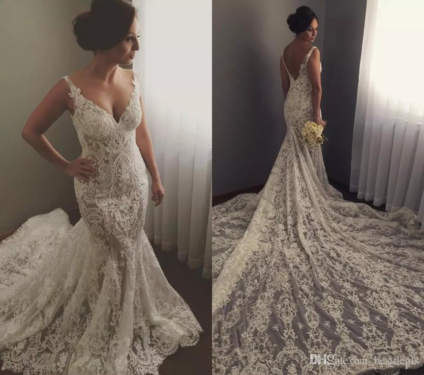 White Backless Lace Mermaid Wedding Dresses 2018 V Neck: 2018 Full Lace Mermaid Wedding Dresses Sexy Deep V Neck