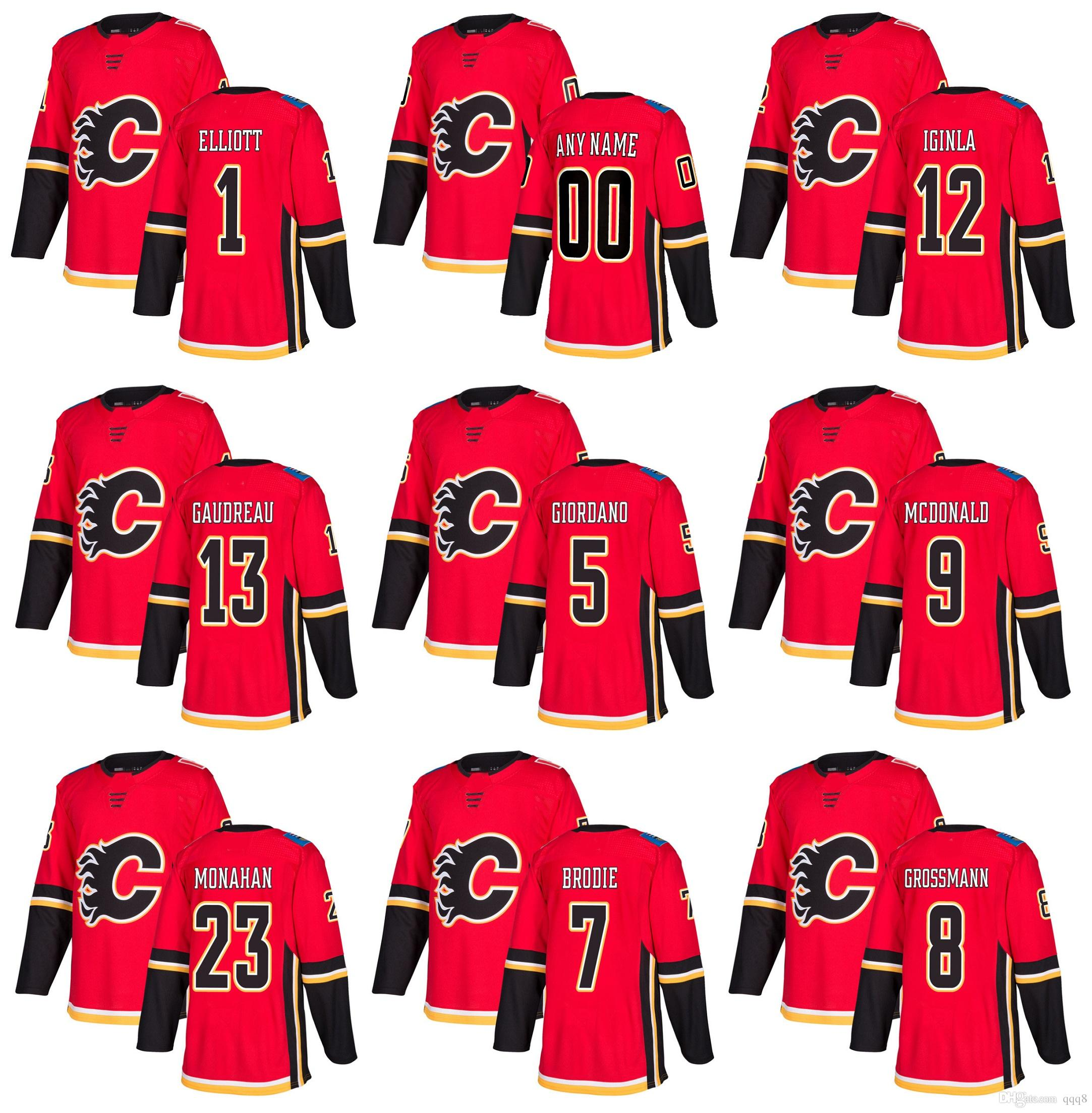 2018 Season Custom Calgary Flames Hockey Jersey 12 Jarome Iginla 13 ... 6bdc6eae1
