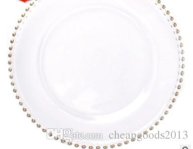 도매 진주 서양식 식품 패드 도금 소재 직경 21cm 도매 유리 플레이트 골드 플레이트 유리 가공
