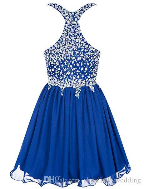 Cheap Chiffon Short Bridesmaid Dresses Beading Prom Formal Party Gowns Dresses Royal Blue Ruffle Wedding A-Line Dresses Knee-Length Dress