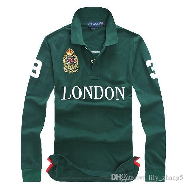 Camisas al por mayor-libre del envío de la manga larga de los hombres Berlín París Londres Roma Nueva York Milan camisas largas con bordado grande
