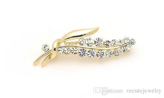 Noble Luxury 18K Gold Plated Crystal mde with Swarovski Elements Leaf Brooch Pins for Women Health Jewelry Nickel Lead Free Factory Price