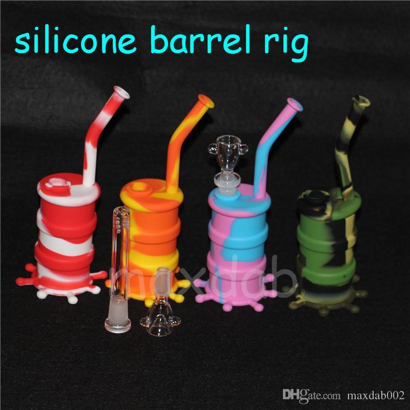 Resplandor de grado alimenticio en silicona oscura Bong Plataforma dab de silicona con accesorios de vidrio, bongs de silicona antiadherentes para envío gratis
