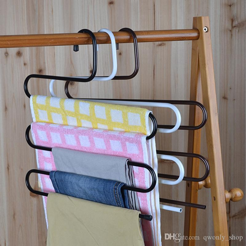 Multi-Purpose Pants Metal Holders For Trousers Towels Clothes Apparel Hangers Rack Five-layer Space Saving Organizer Saving Space