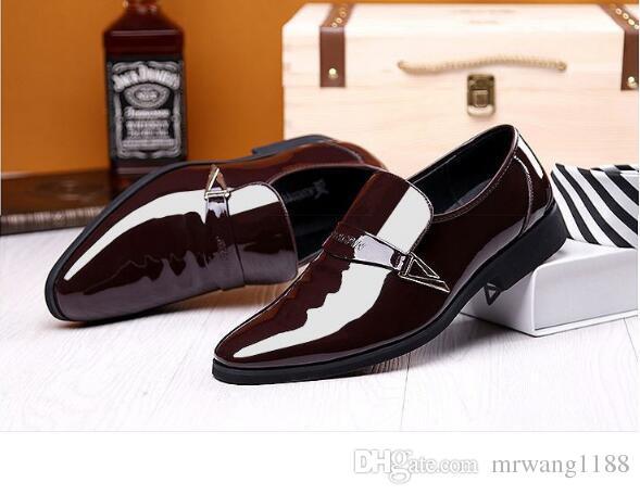 New trend men's dress shoes business youth British black patent leather shoes men's feet Korean pointed men's shoes size:EU39-47