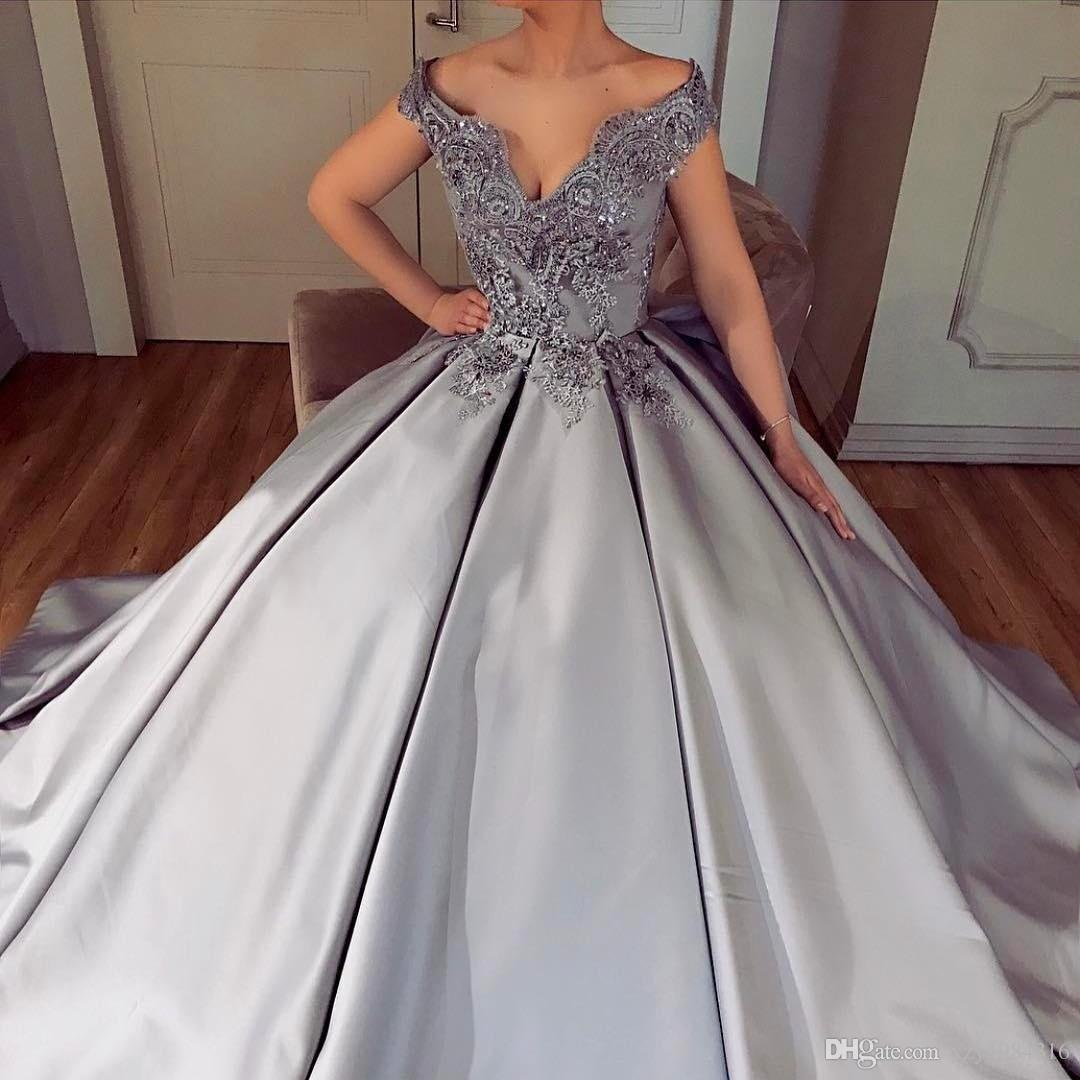 Arabic Charming Light Grey Evening Gowns Beaded Appliques Off ...