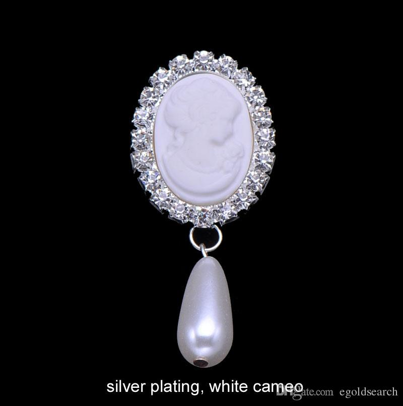 L0589 26mmx63mm ,white Cameo Beads Rhinestone Brooch With Pin At Back ,silver  Plating Crystal Brooch Fashion Brooch Online With $6.82/Piece On  Egoldsearchu0027s ...