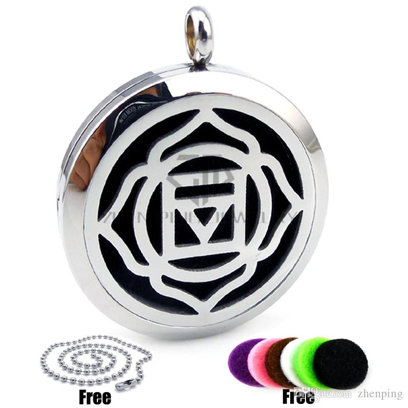 Round Silver 30mm Aromatherapy / Essential Oils Stainless Steel Perfume Magnetic Diffuser Locket Necklace with Free Chains