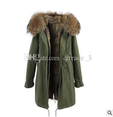 JAZZEVAR Pelliccia di volpe bordata marrone Pelliccia lungo di inverno verde parka cappotti invernali in vera pelliccia invernale
