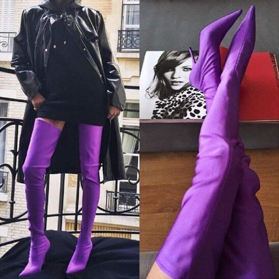 2017 Celebrity Fashion Runway Shoes Mujer Punta estrecha Sexy tacones altos sobre la rodilla Botines fetiche Estiramiento de satén Muslo Botas altas