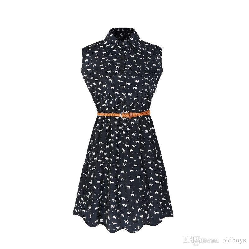 Fun Orange moda estate nuove camicie donna vestito Cat orme modello Mostra camicia sottile vestito abiti casual con cintura